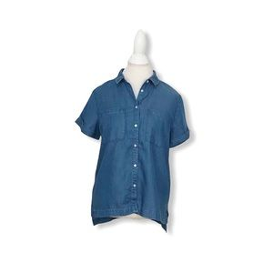 A New Day Button Down Shirt Short Sleeves Chambray